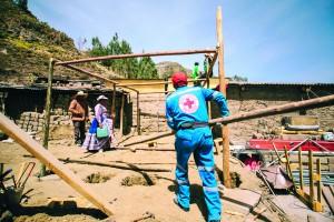 Personal de la Cruz Roja también colabora con tareas de recuperación.