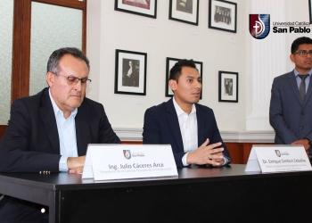 Autoridades de la UCSP y Capeco, en la presentación del congreso
