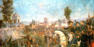 Esta pintura representa la Toma de Arequipa. Se aprecian las torres de las iglesias Santa Rosa, Santa Martha y Santa Teresa. También al general Ramón Castilla.
