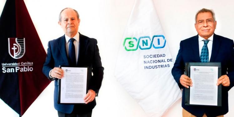 Germán Chávez, rector de la UCSP y el presidente de la SNI, Ricardo Márquez, firmaron convenio de cooperación institucional por 5 años.